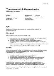 Vetenskapsteori 7,5 HP - Mälardalens högskola