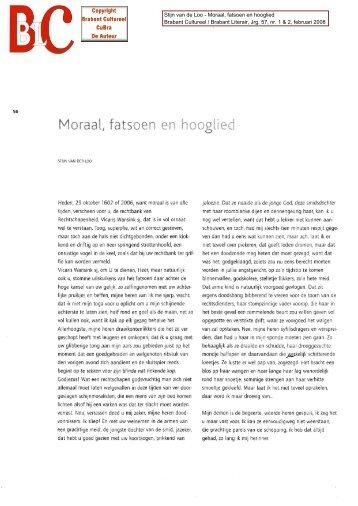 Stijn van der Loo_Moraal, fatsoen, en hooglied - Cubra
