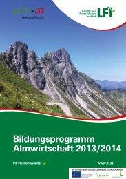 LFI Bildungsprogramm Almwirtschaft 2013/2014