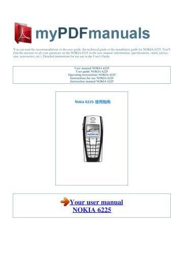 User manual NOKIA 6225 - 1