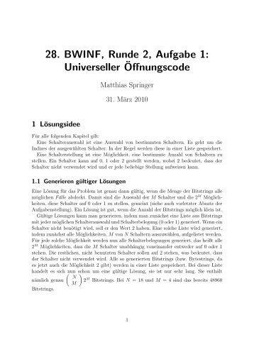Universeller¨Offnungscode - Matthias Springer .DE