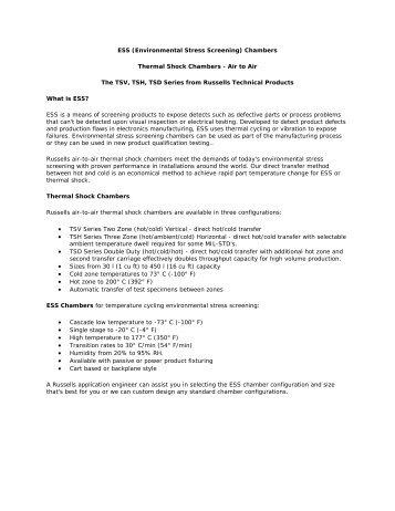 ESS (Environmental Stress Screening) Chambers Thermal Shock ...