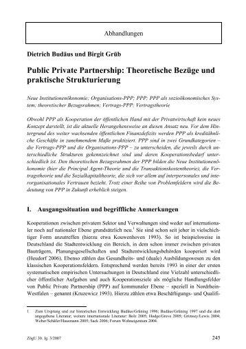 Public Private Partnership: Theoretische Bezüge und praktische ...