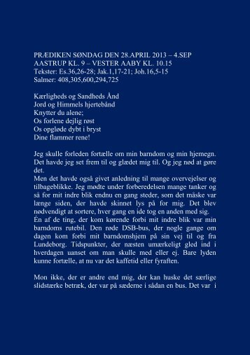 PRÆDIKEN SØNDAG DEN 28.APRIL 2013 - Vester Aaby og ...