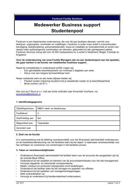 Medewerker Business support Studentenpool