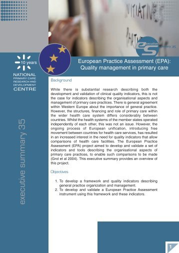 (EPA): Quality management in primary care (Executive Summary 35)