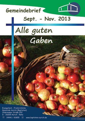 Gemeindebrief September bis November 2013
