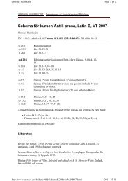 Schema för kursen Antik prosa, Latin B, VT 2007
