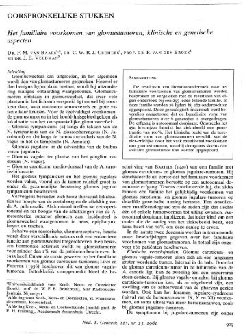Het familiaire voorkomen van glomustumoren; klinische en ...