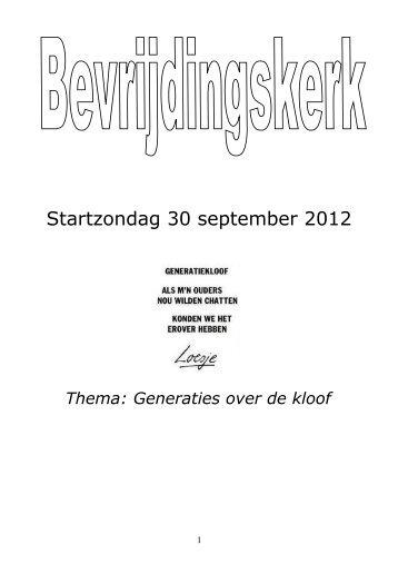 Startzondag 30 september 2012
