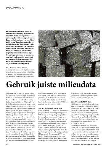Artikel 'Duurzaamheid – Gebruik juiste milieudata' - Duurzaam in staal