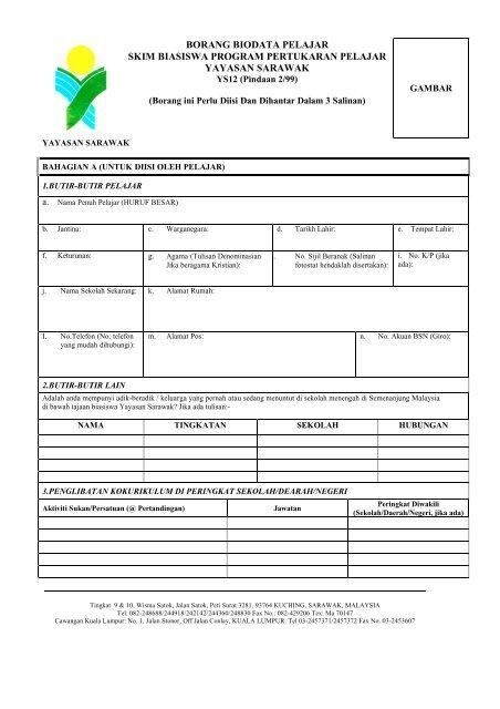 Borang Ys12 Pindaan 2 99 Yayasan Sarawak