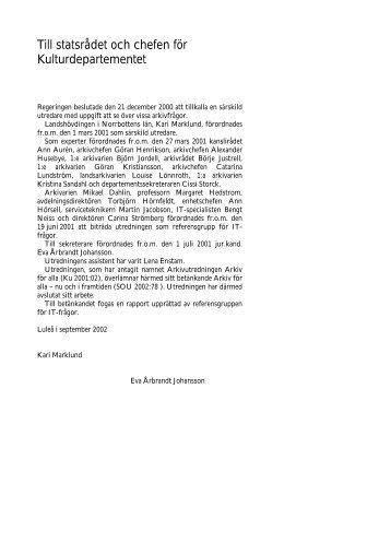Arkiv för alla – nu och i framtiden, SOU 2002:78 - Regeringen