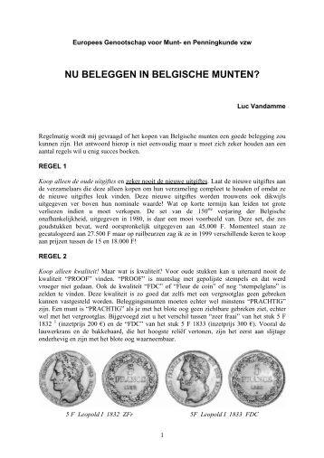 Nu beleggen in Belgische Munten? (592 kbyte) - Egmp