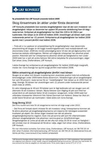 Skogsmarkspriser Riks - LRF Konsult