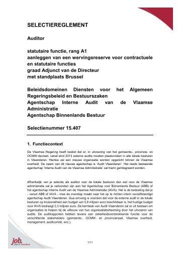 SELECTIEREGLEMENT - Jobpunt Vlaanderen