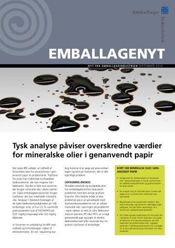 Tysk analyse påviser overskredne værdier for mineralske olier i ...