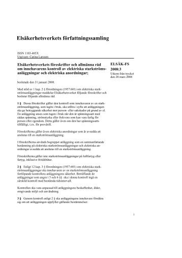 elsäk-fs 2008:3 - Elsäkerhetsverket