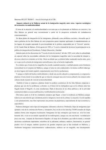 Bartomeu MULET TROBAT - Area de Sociología de la UIB. Impacto ...