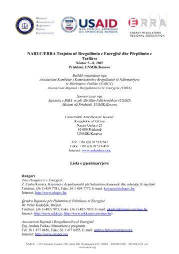NARUC/ERRA Trajnim në Rregullimin e Energjisë dhe Përpilimin e ...