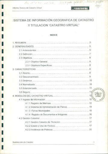 Informe Técnico del Catastro Virtual - Cofopri