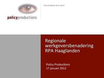 Regionale werkgeversbenadering RPA Haaglanden