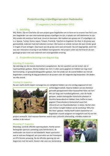 Projectverslag vrijwilligersproject Oudemolen - Drentsche Aa