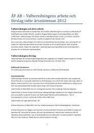 Valberedningens förslag - AB Ångpanneföreningen