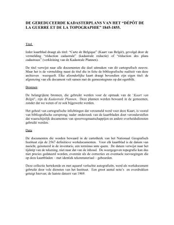 De gereduceerde kadasterplans van het Dépôt de la Guerre et ... - Ngi