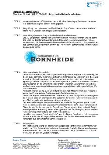 Borner Runde Protokoll der Borner Runde Dienstag ... - Osdorfer Born