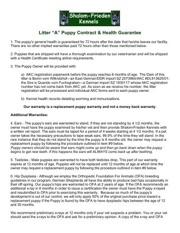 Puppy Contract  White Sand Kennels