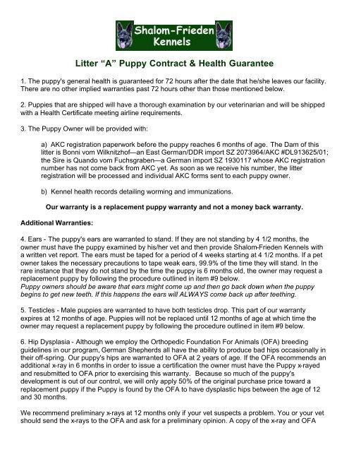 "Litter ""A"" Puppy Contract & Health Guarantee - Teresa Hessler"