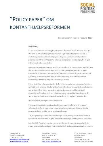 Policy-paper-kontanthjælpsreform - Socialpolitisk Forening