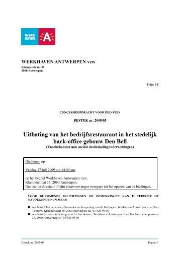 Uitbating van het bedrijfsrestaurant in het stedelijk ... - Antwerpen.be