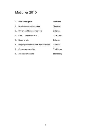 Motioner och yttranden - Bygdegårdarnas Riksförbund