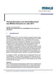 Pressemeldung (Kurzform) - MAHLE Industry