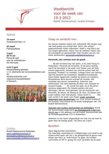Weekbericht Voor De Week Van 19 3 2012 Vrije Scholen Regio