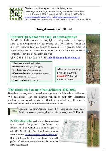 Hoogstamnieuws 2013-1 - Nationale Boomgaardenstichting