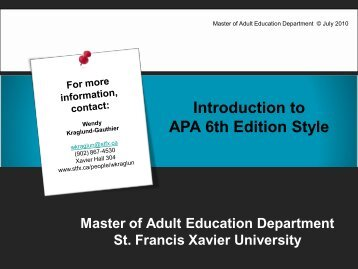 Introduction to APA 6th Edition Style - St. Francis Xavier University