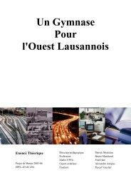 Un Gymnase Pour l'Ouest Lausannois Enoncé Théorique - EPFL