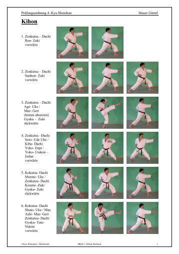 Prüfungsordnung 4. Kyu Shotokan blauer Gürtel 1. Zenkutsu ...