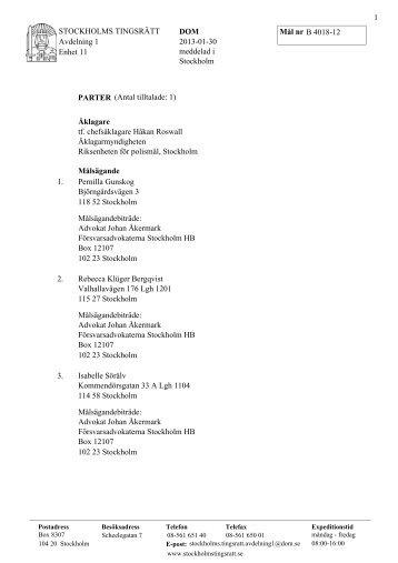 Dom Stockholms tingsrätt Mål nr B 4018-12