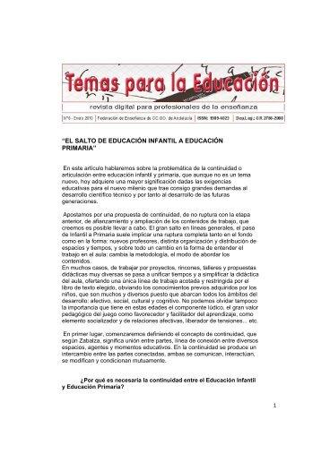 el salto de educación infantil a educación primaria - CCOO
