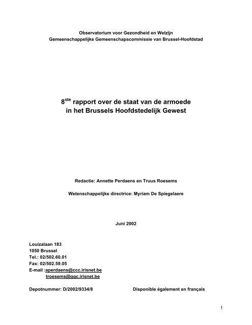 8 rapport over de staat van de armoede in het Brussels ...