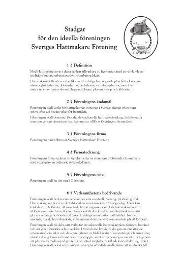 stadgar för sveriges hattmakare förening - Hattmakarens