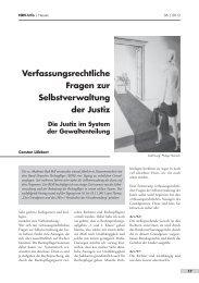 Verfassungsrechtliche Fragen zur Selbstverwaltung der Justiz