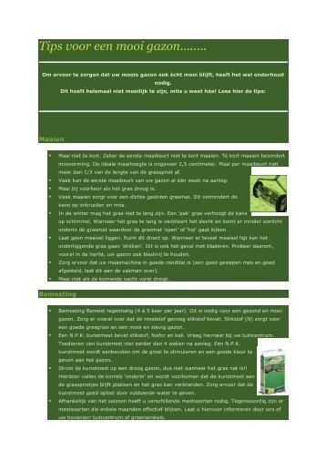Tips voor een mooi gazon........ - Claessen BV Tuintoeleveringsbedrijf