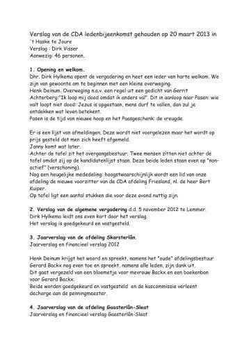 Verslag van de CDA ledenbijeenkomst gehouden op 20 maart 2013 in