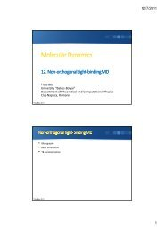 12. Non-orthogonal tight orthogonal tight-binding MD binding MD