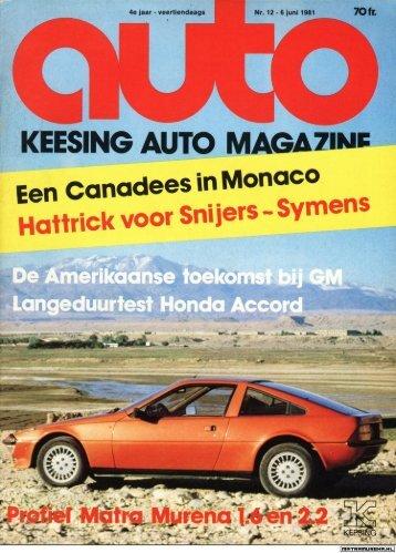 Murena: Keesing auto magazine - 6 juni 1981 - MatraMurena.nl